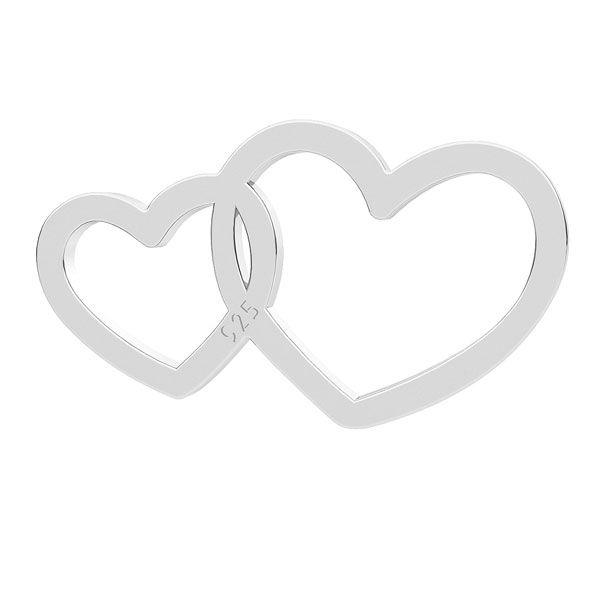 Doppio cuore ciondolo, argento 925, LK-1299 - 0,50