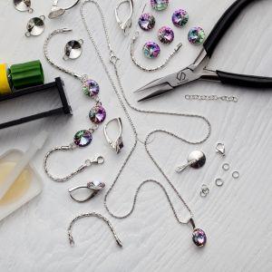 DIY bracciale, argento 925, Swarovski, DIY with SILVEXCRAFT  NO.02001