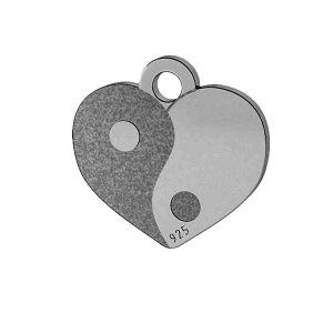 Yin Yang cuore pendente, argento 925, LK-1479 - 0,50