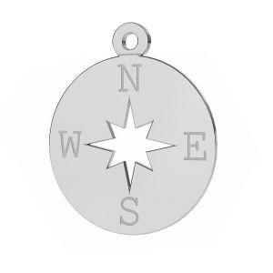 Bussola rosa dei venti pendente argento 925, LKM-2015