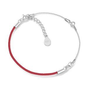 Braccialetto, spago base, argento 925, S-BRACELET 15 (RED)