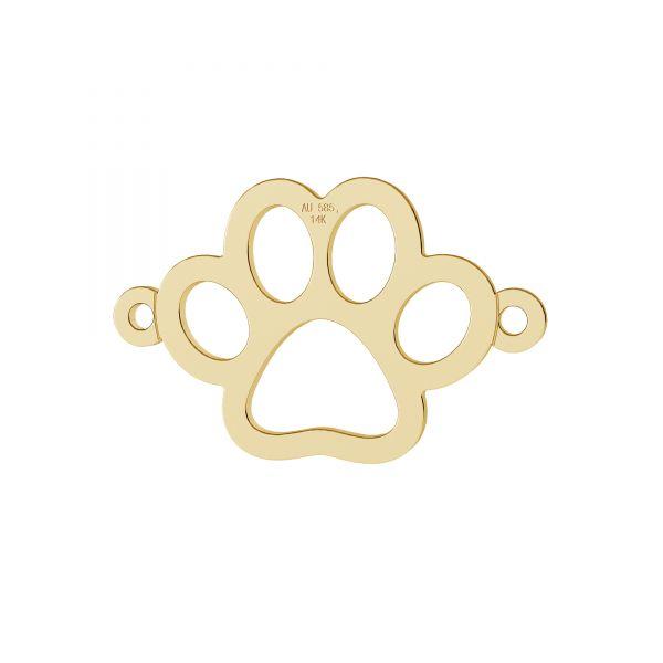 Zampa di cane ciondolo, oro 14K, LKZ-00366 - 0,30