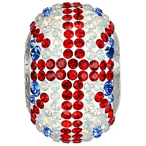81833 BeCharmed Pavé Flag UK - beads Sapphire, Light Siam, White Opal