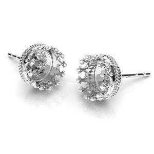 Orecchini corona per resina, argento 925, ODL-00680 KLS