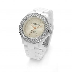 WHITE MONTRE WATCH BRACELET WITH SWAROVSKI - MODEL 443