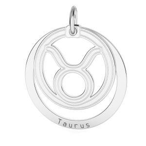 Toro pendente zodiaco*argento 925*LKM-2586 - 0,50 18x22 mm