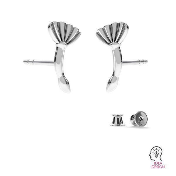 Orecchini a perno, Fiocco *argento 925*ODL-00676 KLS 7,8x10,8 mm