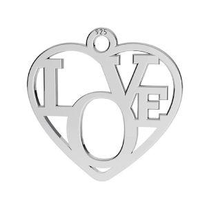 Cuore pendente ,argento 925, LK-2677 - 05 15,5x16 mm