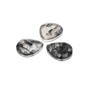 Lacrima pendente, Quarzo rutilo nero 16 mm, Gavbari pietra semipreziosa